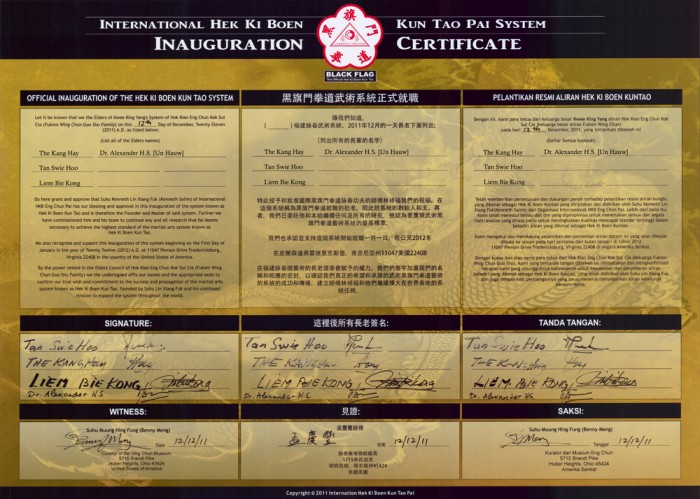 Inauguration Certificate of Black Flag Wing Chun by Senior Students of GM Kwee King Yang. Original teaching of Tjia Fun Tjia, Last chief instructor of Black Flag, Revived by Sifu Kenneth Lin